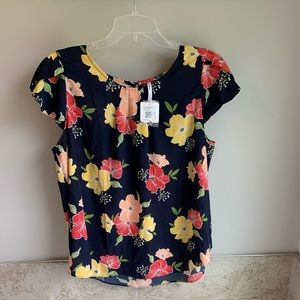 D.N.A. Couture Colorful Floral Blouse 2X NWT